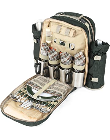 Greenfield Collection Super Deluxe - Mochila de picnic para cuatro personas, color verde bosque