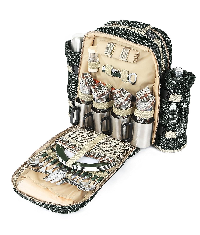 verdefield Collection - Cestino da picnic completamente attrezzato per 4 persone, con tazze e bottiglia in acciaio INOX - verde Bosco