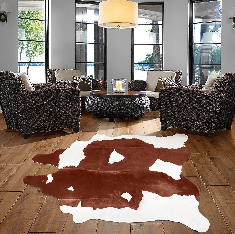 A Star Tm Western Brown White Cowhide Rug Best Cow Hides Area Rug 5 X 7 Kitchen Dining
