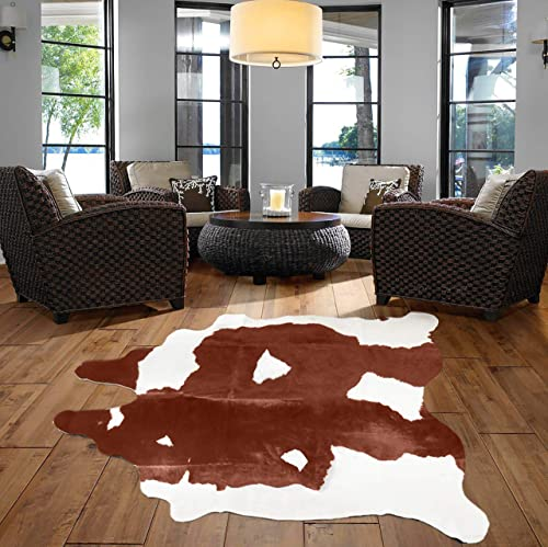 A-STAR TM Western Brown White Cowhide Rug – Best Cow Hides Area Rug 5 x 7