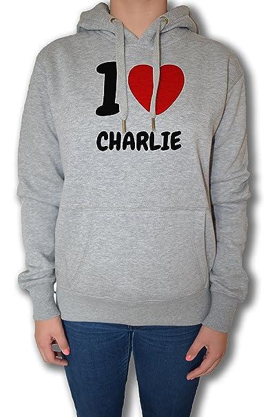 I Love Charlie Mujer Sudadera Sudadera Con Capucha Pullover Gris Todos Los Tamaños | Womens Sweatshirt