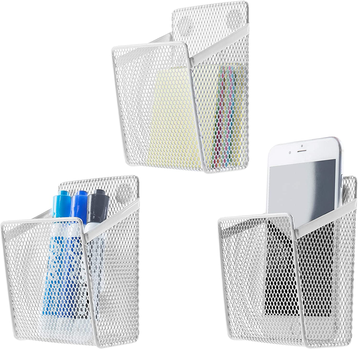 MyGift White Wire Mesh Magnetic Storage Baskets, Office Supply Organizers, Set of 3