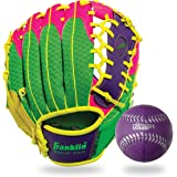 Franklin Sports Teeball Recreational Series Fielding Left Hand Glove with Baseball, 9.5-Inch, Purple/Lime/Pink/Yellow