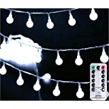 """[Remote & Timer] 33Ft Outdoor Globe String Lights 100LED Cool White Fairy Twinkle Lights(3/4"""" Dia Globe) with Remote 8 Modes Controller & UL Listed Adaptor Plug-for Party/Garden/Wedding Decor"""