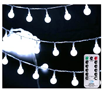 [Remote & Timer] 33Ft Outdoor Globe String Lights 100LED Cool White Fairy Twinkle Lights