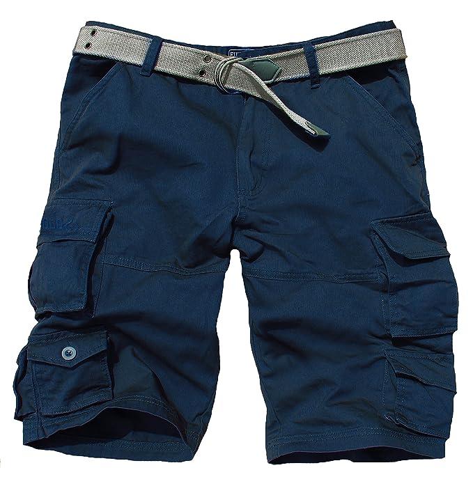 51135e14ab Fun Coolo Pantaloncini Corti Bermuda Cargo Short con tasconi Laterali, con  Cintura