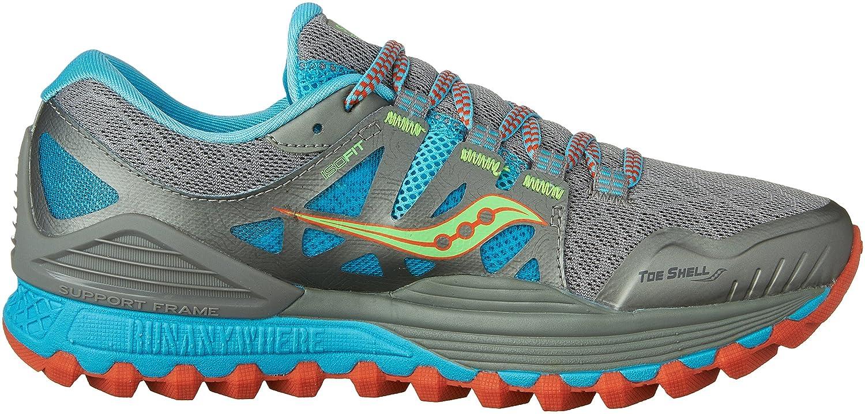Saucony Women's Xodus Iso Trail Runner B018FAHJ82 5 B(M) US|Grey/Blue/Silver
