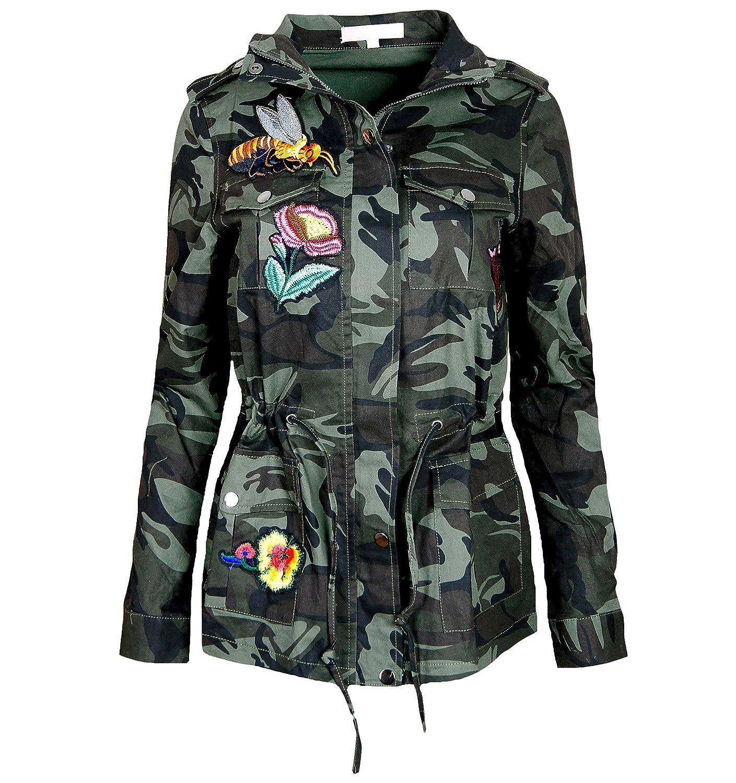 Damen Jacke Camouflage Parka Militär Übergangsjacke Patches Blouson , F808
