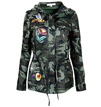 ALZORA Damen Jacke Camouflage Parka Militär Übergangsjacke Patches Blouson,  F808 (XS, Modell 1 1232b2af4f