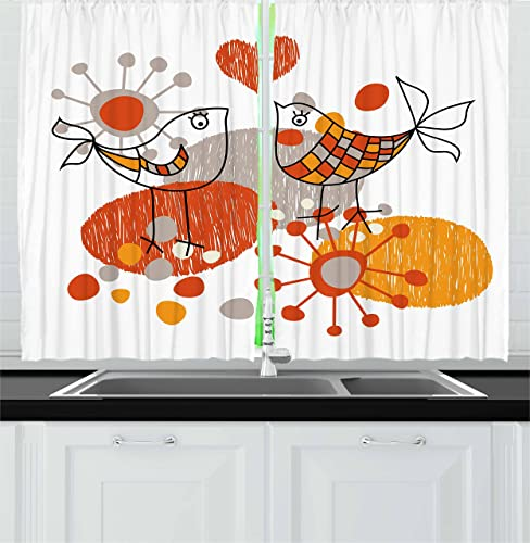 Ambesonne Valentines Kitchen Curtains, Love Birds with Hearts Romantic Spring Fun Happy Sketch, Window Drapes 2 Panel Set for Kitchen Cafe Decor, 55 X 39 , Marigold