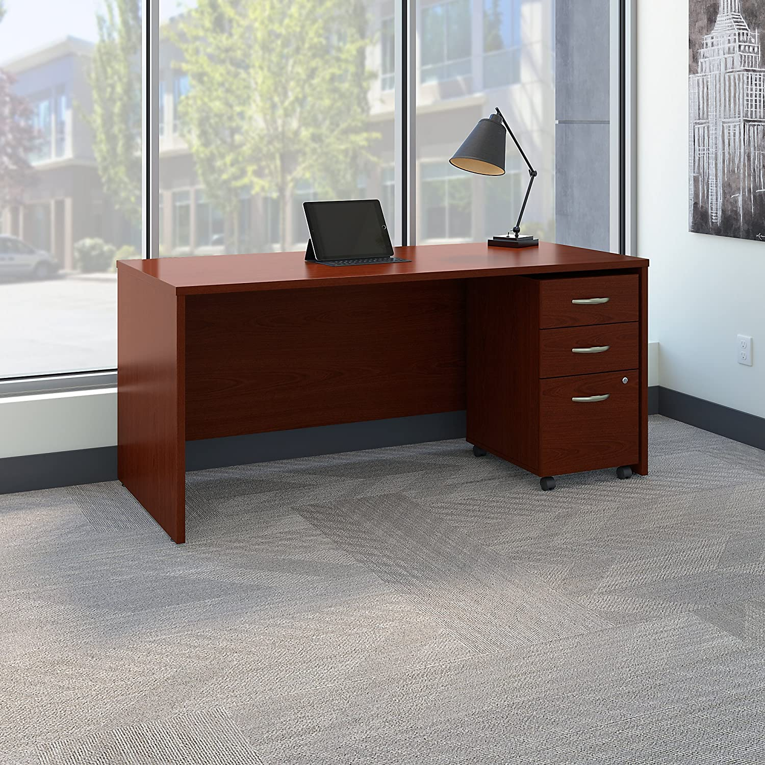 Amazon.com: Series C 66W X 30D Office Desk With Mobile File Cabinet In  Mahogany: Kitchen U0026 Dining