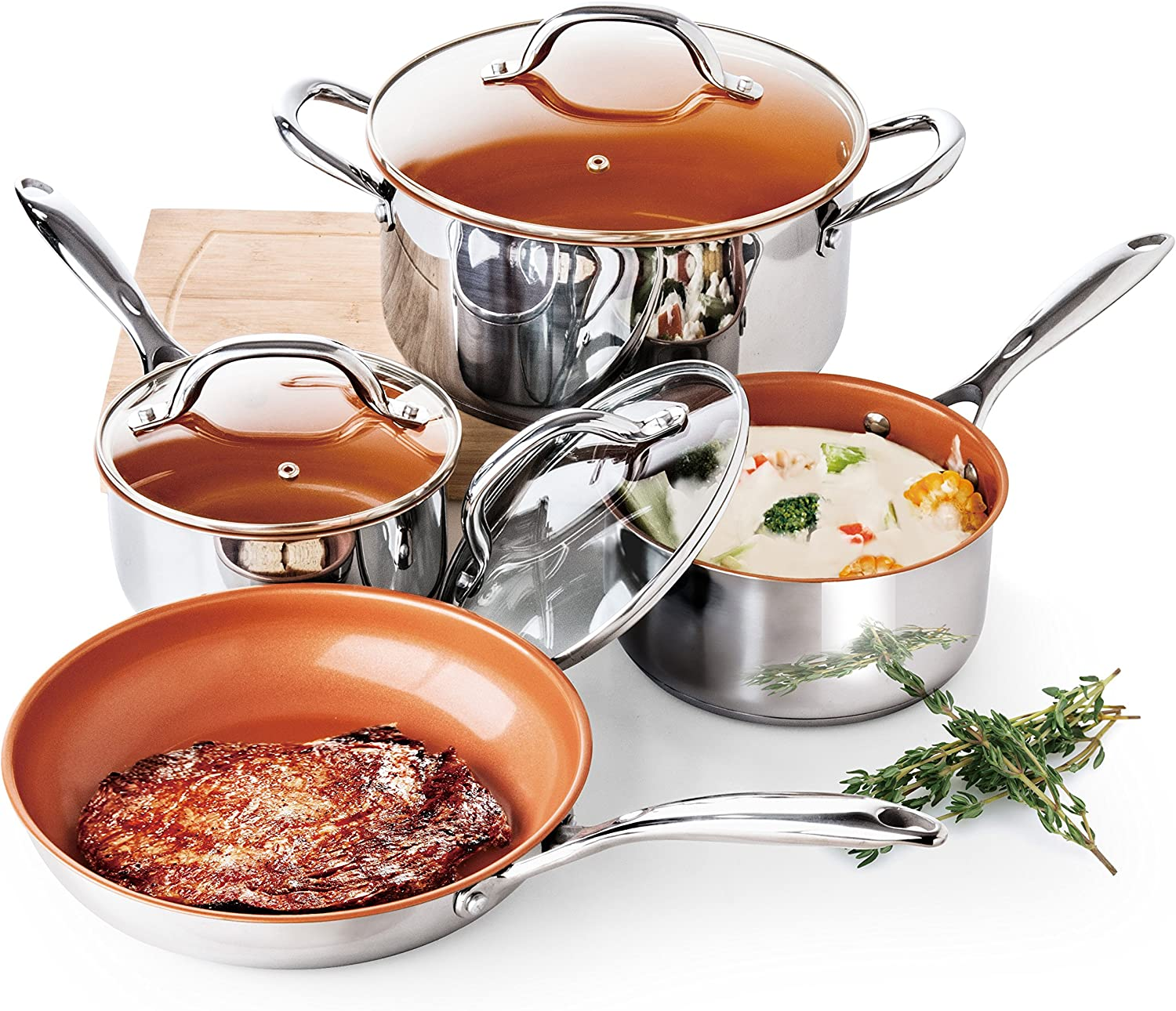 Redwood Copper 7 Piece Stainless Steel Cookware Set With Ceramic-Titanium Non-Stick, 1