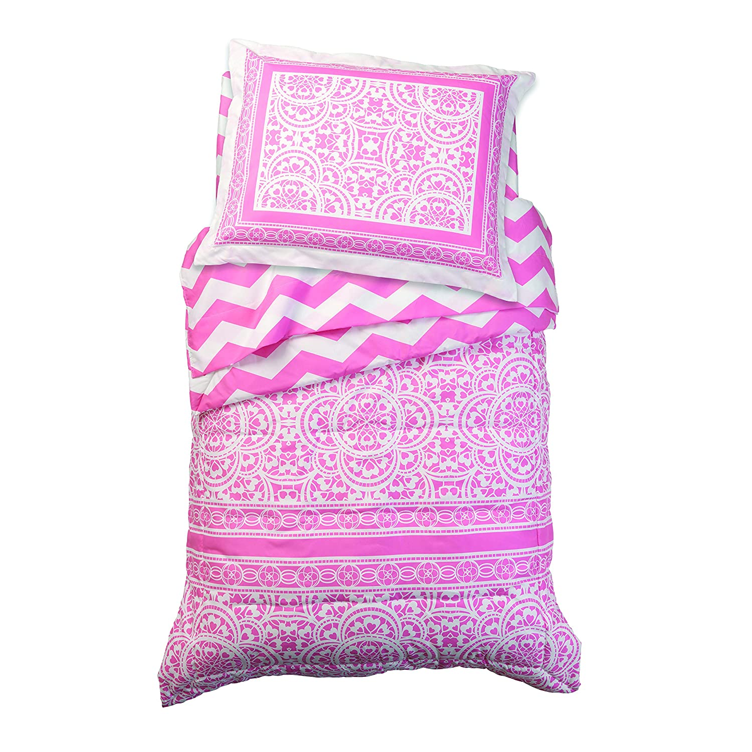 KidKraft Lace and Chevron Toddler Bedding - Pink