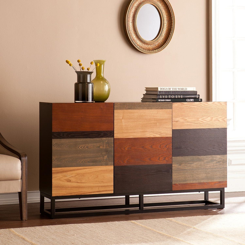 Harrison Console Credenza - Three Cabinets w/ Cord Management - Multicolor Tonal Finish