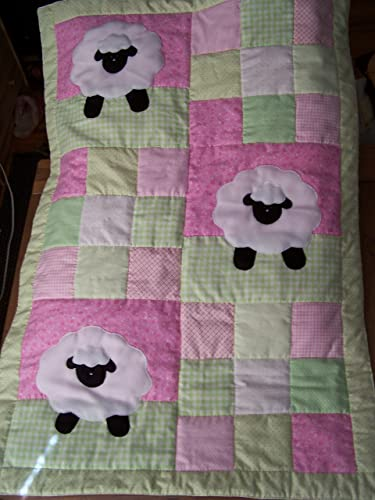 6a6481f199ba55 Amazon.com  Hand Appliqued Lamb with Pink and Green Patchwork Baby ...