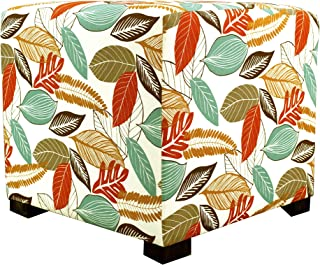product image for MJL Furniture Designs Merton Collection, Fabric Upholstered Modern Cube Foot Rest Ottoman with 4 Button Tufting, Floral Foliage Series, Coral