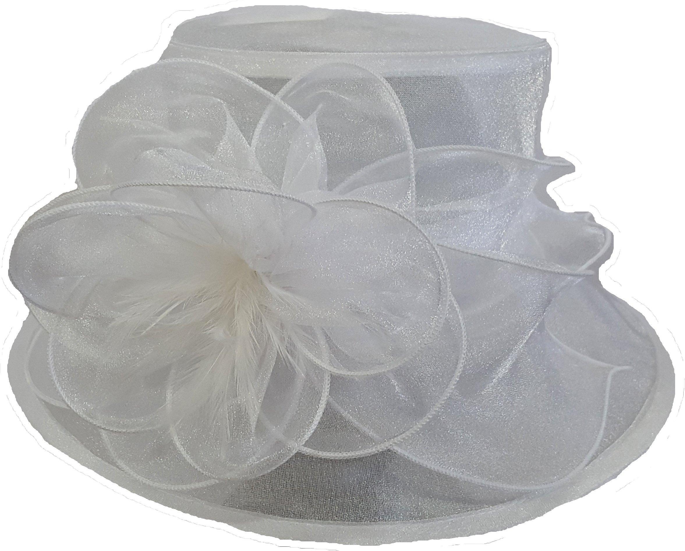 Swan Hat White Organza Women's Hat Church Wedding Kentucky Derby Summer