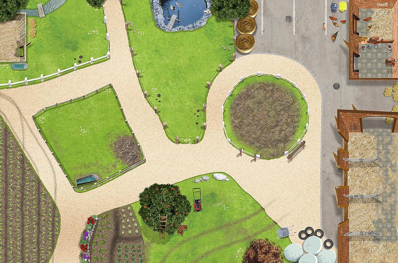 Granja Centro Ecuestre Alfombra Infantil de Juego | SM01 Cuarto de los niños | Tamaño: 150 x 100 cm | Accesorios adecuados para Schleich, Papo, Bullyland, Playmobil etc. | STIKKIPIX