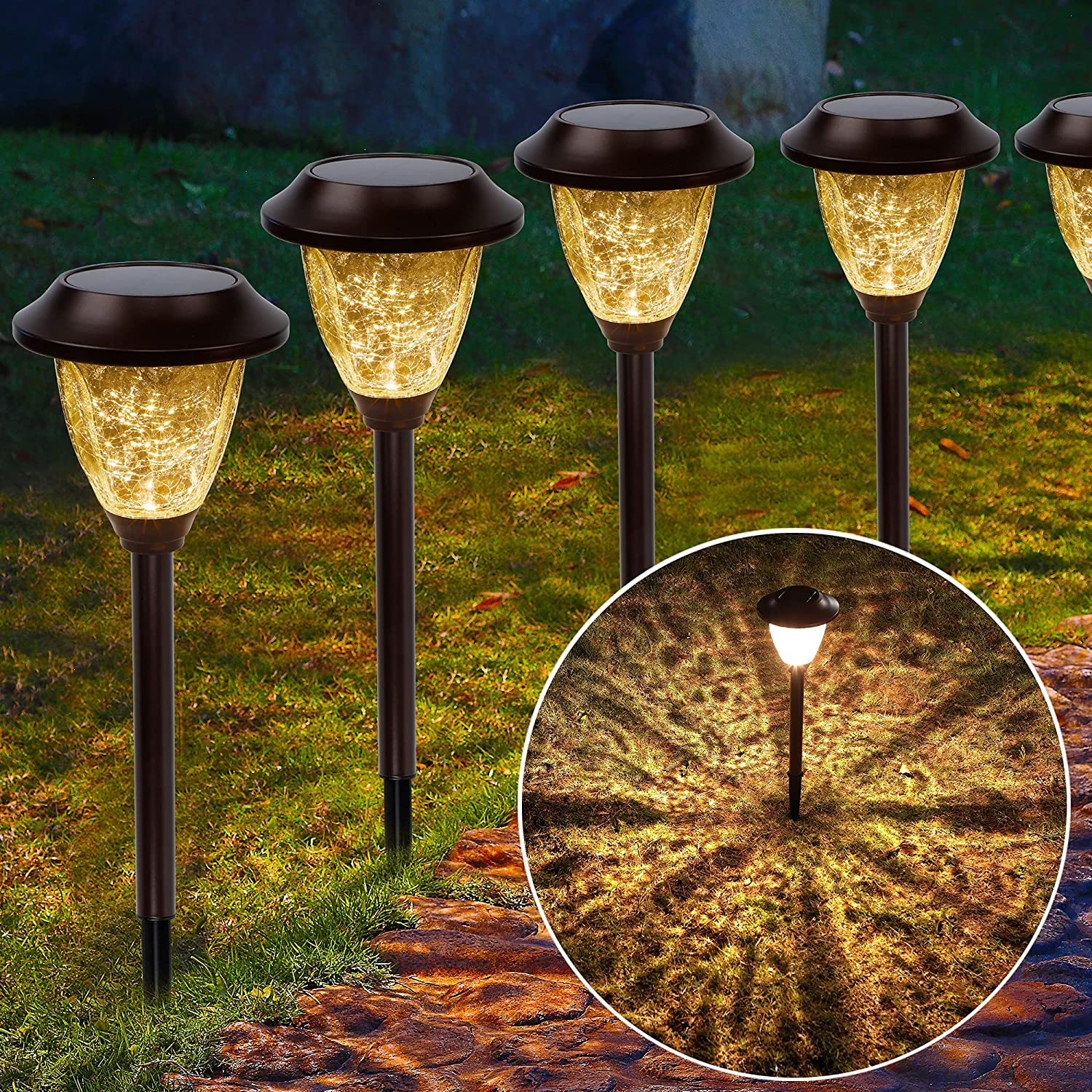 MAGGIFT 6 Pack Solar Powered Pathway Lights, 25 Lumen Super Bright SMD LED Warm White, Brown Stainless Steel and Glass Garden Light, Outdoor Waterproof for Landscape, Patio, Walkway, Deck, Driveway