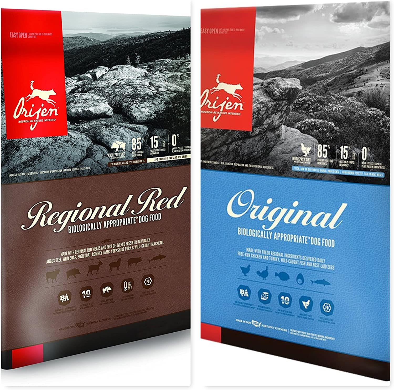 Orijen Dry Dog Food Bundle (1) 13 lb Bag Original Dry Dog Food,(1) 13 lb. Bag Regional Red Dog Food. 26 Lbs Total.(2 Bags Total)