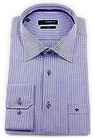 Seidensticker Herren Langarm Hemd Uno Regular Fit Kent Tape blau / weiß kariert 131710.16