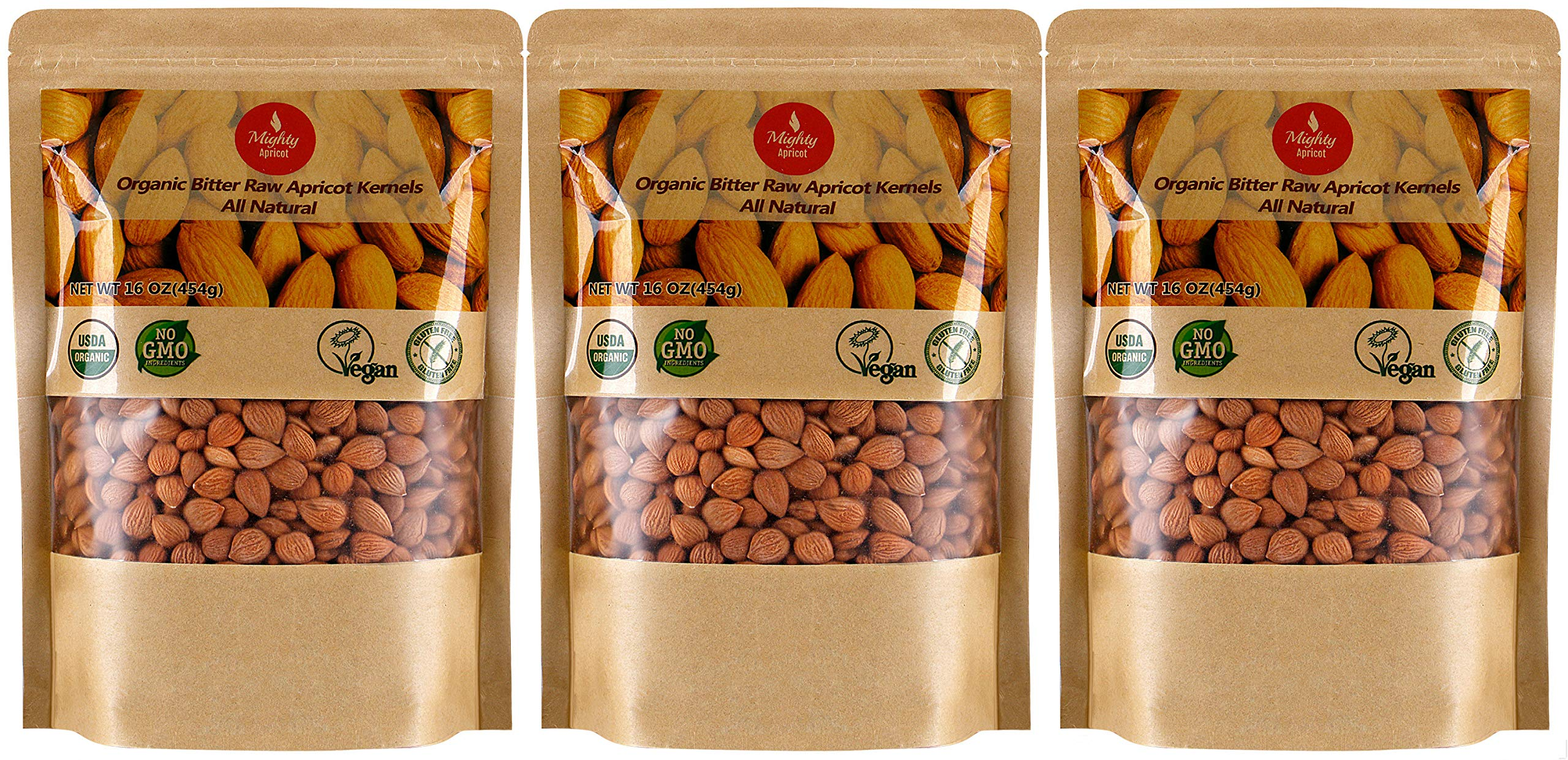 Mighty Apricot Bitter Apricot Kernels(1LB) 16oz (3 Pack), Natural Raw Bitter Apricot Seeds, Vegan, Non-GMO, Gluten Free, Great source of Vitamin B17 and B15