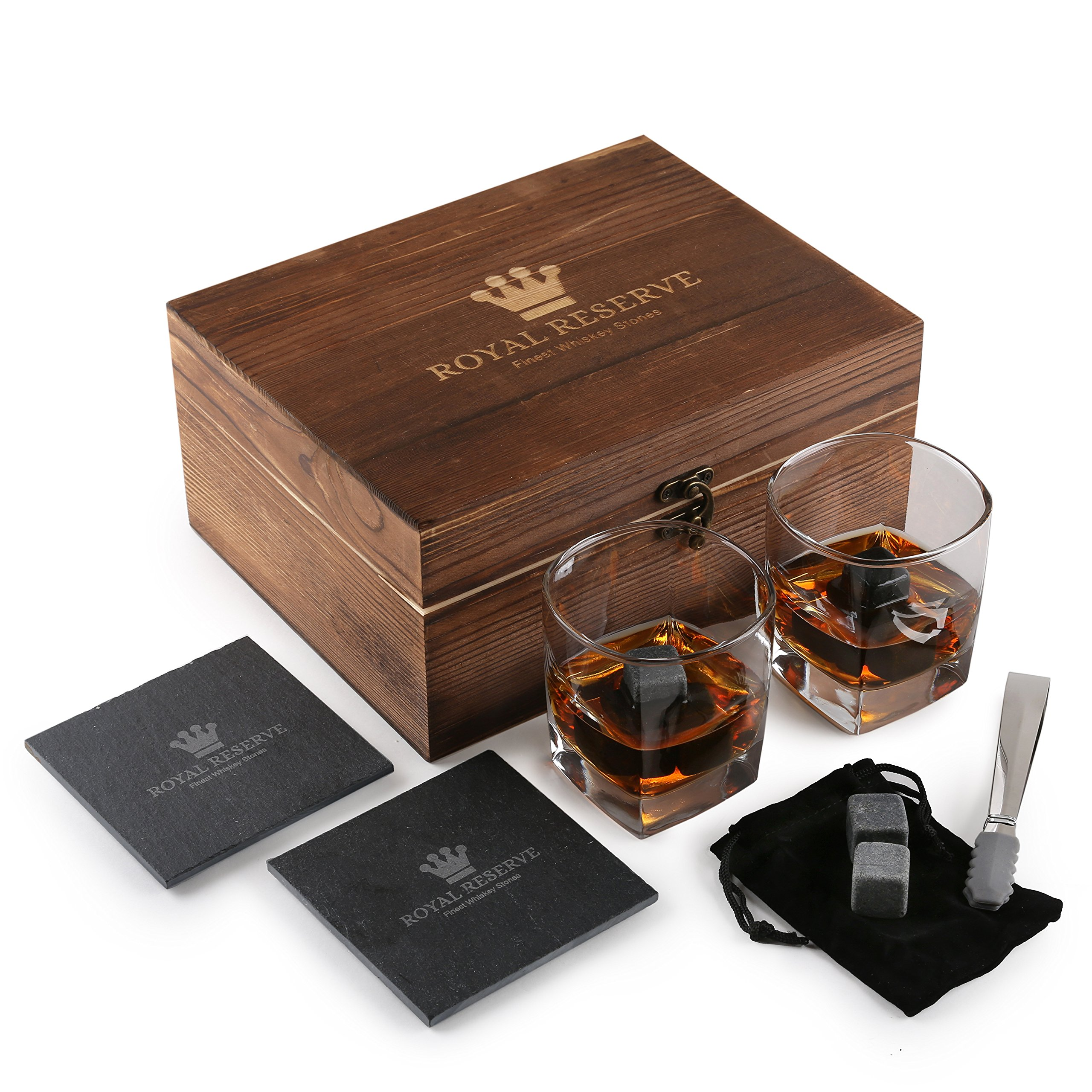 Whiskey Stones Gift Set by Royal Reserve | Husband Birthday Gifts Artisan Crafted Chilling Rocks Scotch Bourbon Glasses and Slate Table Coasters - Gift for Men Dad Boyfriend Anniversary or Retirement by Royal Reserve