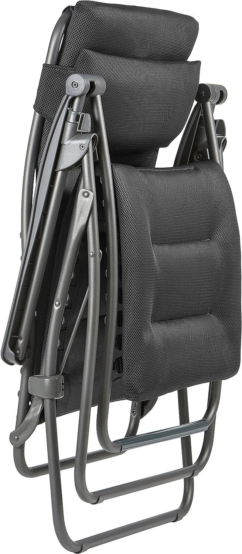 Plegable y ajustable Acero LFM2038-8718 Lafuma Tumbona relax Air Comfort Antracita RSX Clip