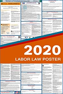 """2020 Washington State and Federal Labor Law Poster - Laminated 27"""" x 40"""""""