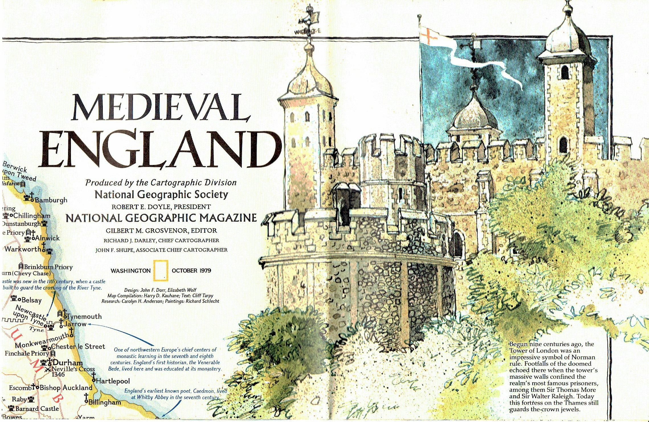 Medieval England/British Isles Map: National Geographic Society