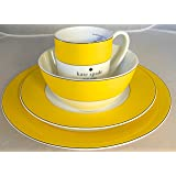 4-Piece Kate Spade Lenox Rutherford Circle Yellow Pattern Dinner & Salad Plate, Bowl & Tea / Coffee Cup Set