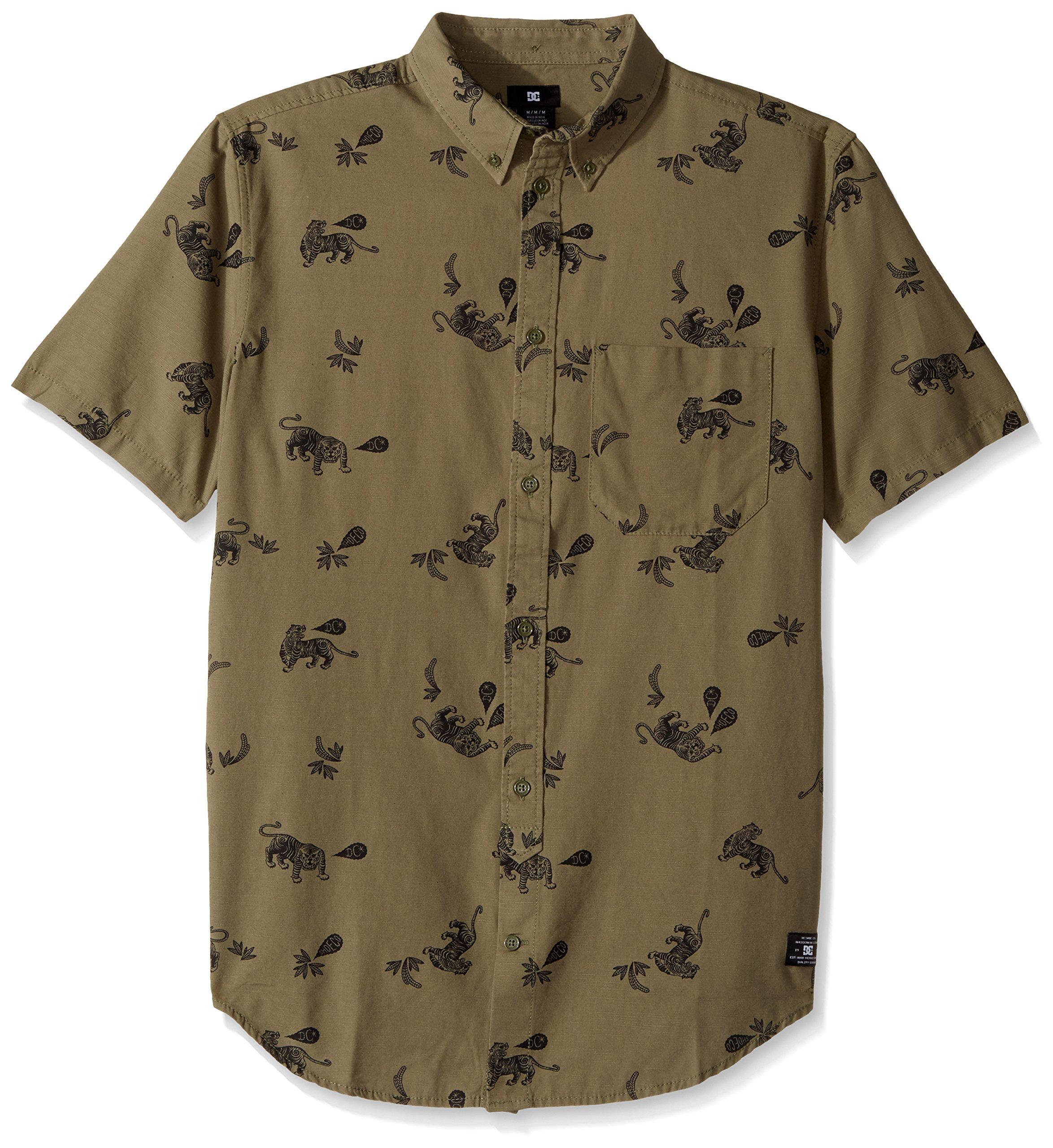 DC Men's Odanah Short Sleeve Top, Vintage Green Tiger Ambush, Medium