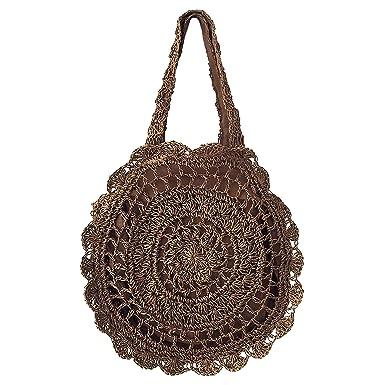 Amazon Women Bohemian Round Crochet Straw Tote Bags Big Circle