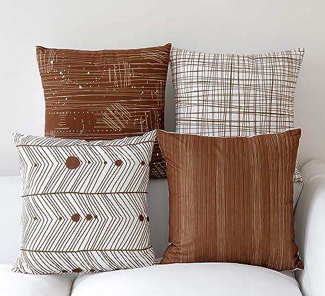 FabThing Hogar 4 Cojines Geométrico Algodón y Lino Decorativa Almohadas Fundas para Sofá Cama Sala 45X45cm Marrón