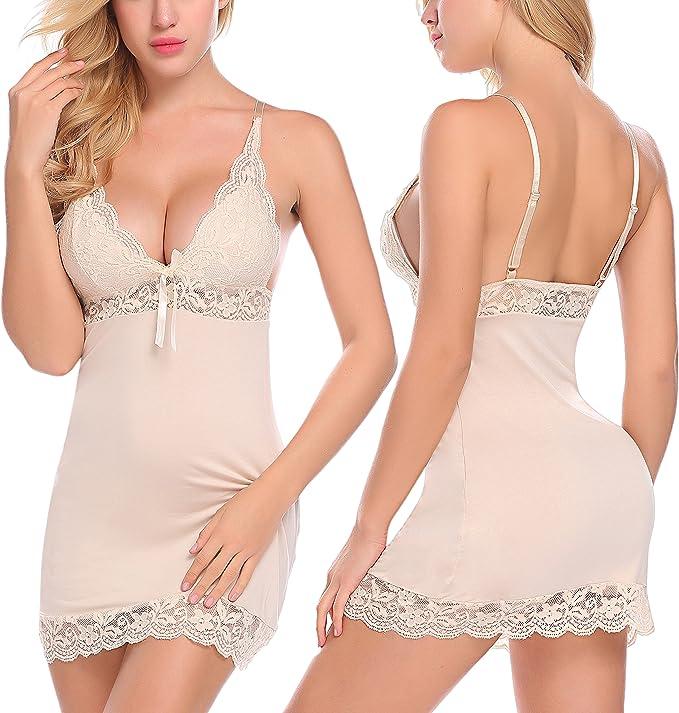 Avidlove Sexy Sleepwear Slip Nighty Modal Chemise Strap Nightgown Lace Lingerie