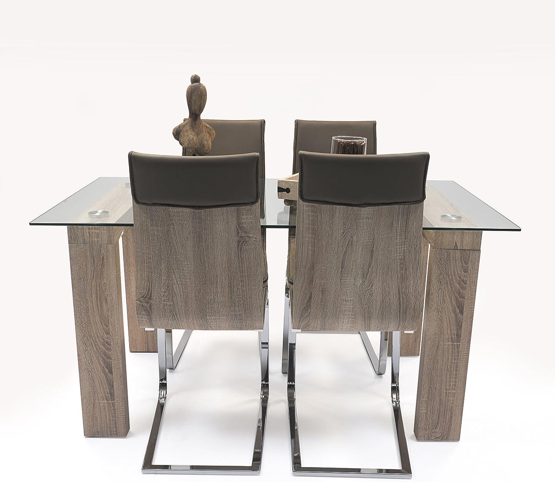 Homely - Conjunto de Comedor Kala. 4 sillas Kala y Mesa de Cristal y Madera Alba 150x90 cm: Amazon.es: Juguetes y juegos