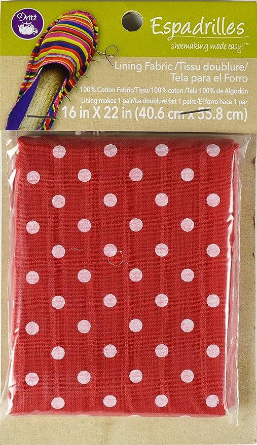 Dritz Espadrille fodera in cotone, 16 x 22 cm, colore: rosso