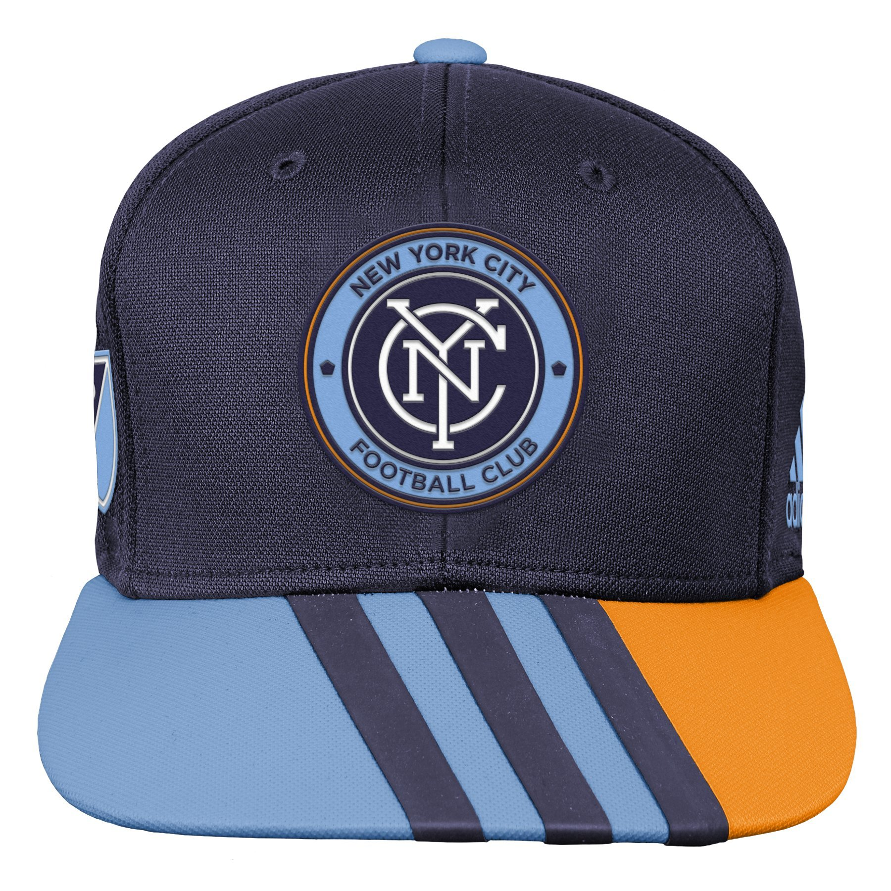 Outerstuff MLS NYCFC R S8FMK Youth Boys Flatbrim Snapback, One Size (8), Bahia Blue