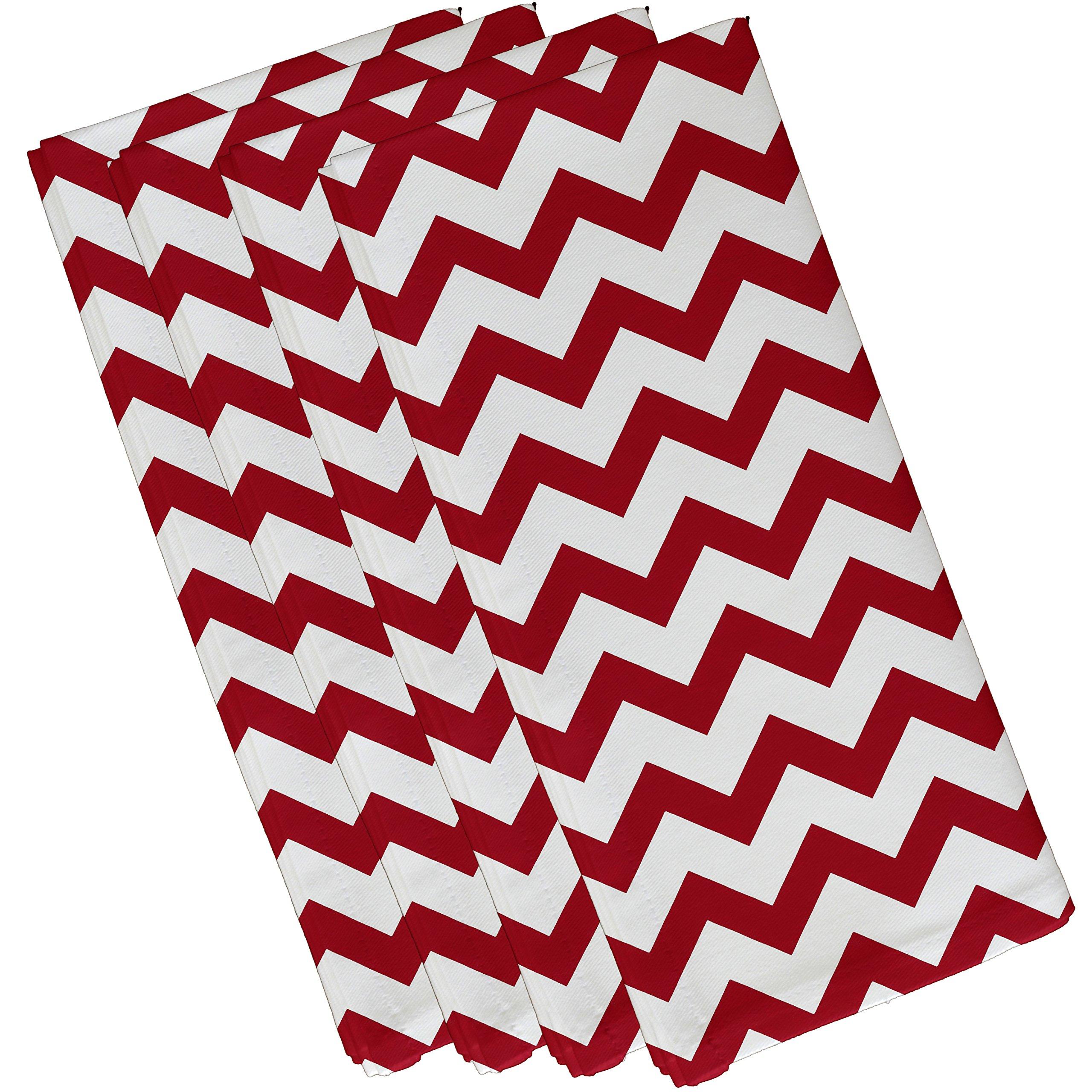 E by design Chevron Decorative Napkin, 19 x 19'', Red by E by design