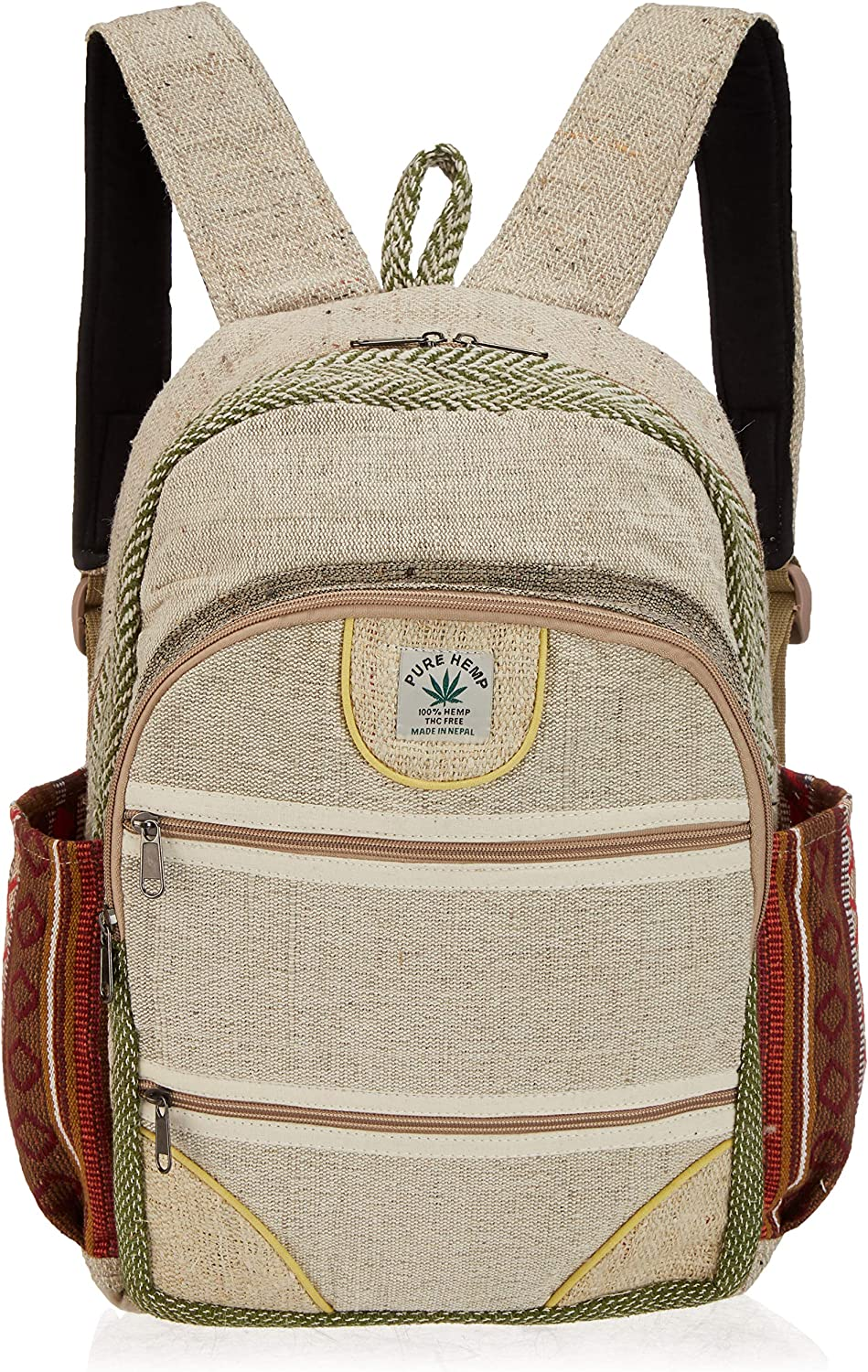 Pure Hemp Natural Light Greay Color Backpack Handmade Nepal with Laptop Sleeve - Fashion Cute Travel School College Shoulder Bag/Bookbags/Daypack