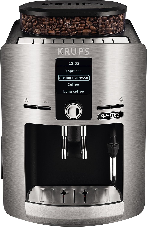 Krups Espresseria Quattro Force EA82FB - Cafetera Superautomática 15 Bares, Pantalla LCD, Programas de Leche y Personalización Bebidas, Molinillo Metálico Profesional, Modo Limpieza, Jarra Leche: 479.28: Amazon.es: Hogar