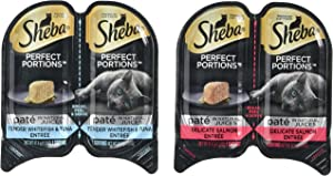 Sheba Perfect Portions Wet Cat Food, Delicate Salmon Entrée and Tender Whitefish and Tuna Entrée, (12) 2.6 Oz Twin-Pack Trays