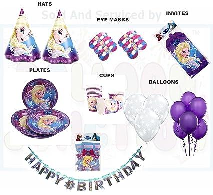 Disney Frozen Theme Birthday Supplies Combo 2 8 Different Items Multicolour