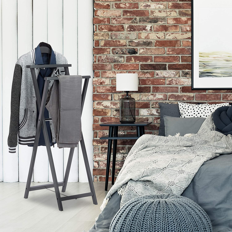 Ablage MDF Holz Stummer Diener Jacket u Damen grau Kleiderbutler f Standard f Hosen m Relaxdays Herrendiener klappbar