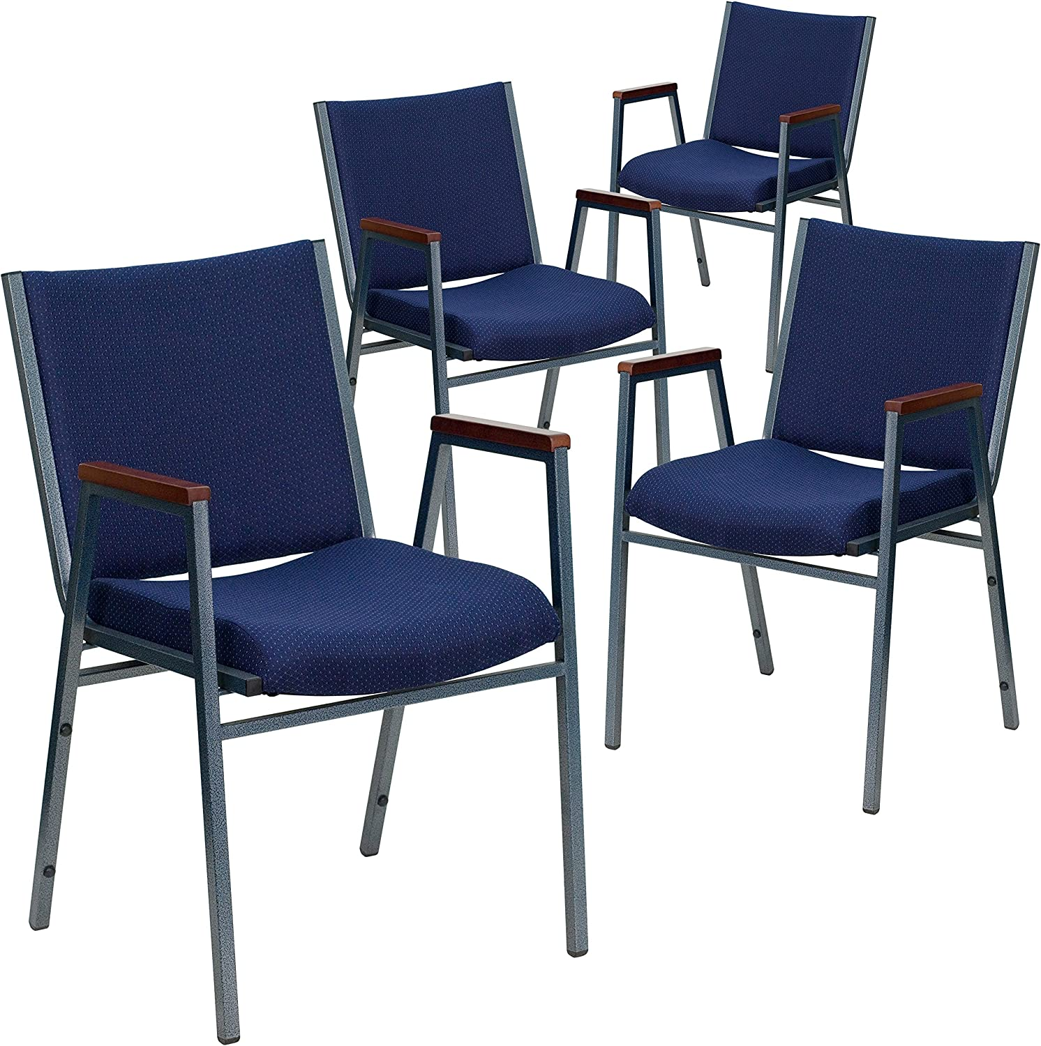 Flash Furniture 4 Pk. HERCULES Series Heavy Duty Navy Blue Dot Fabric Stack Chair with Arms