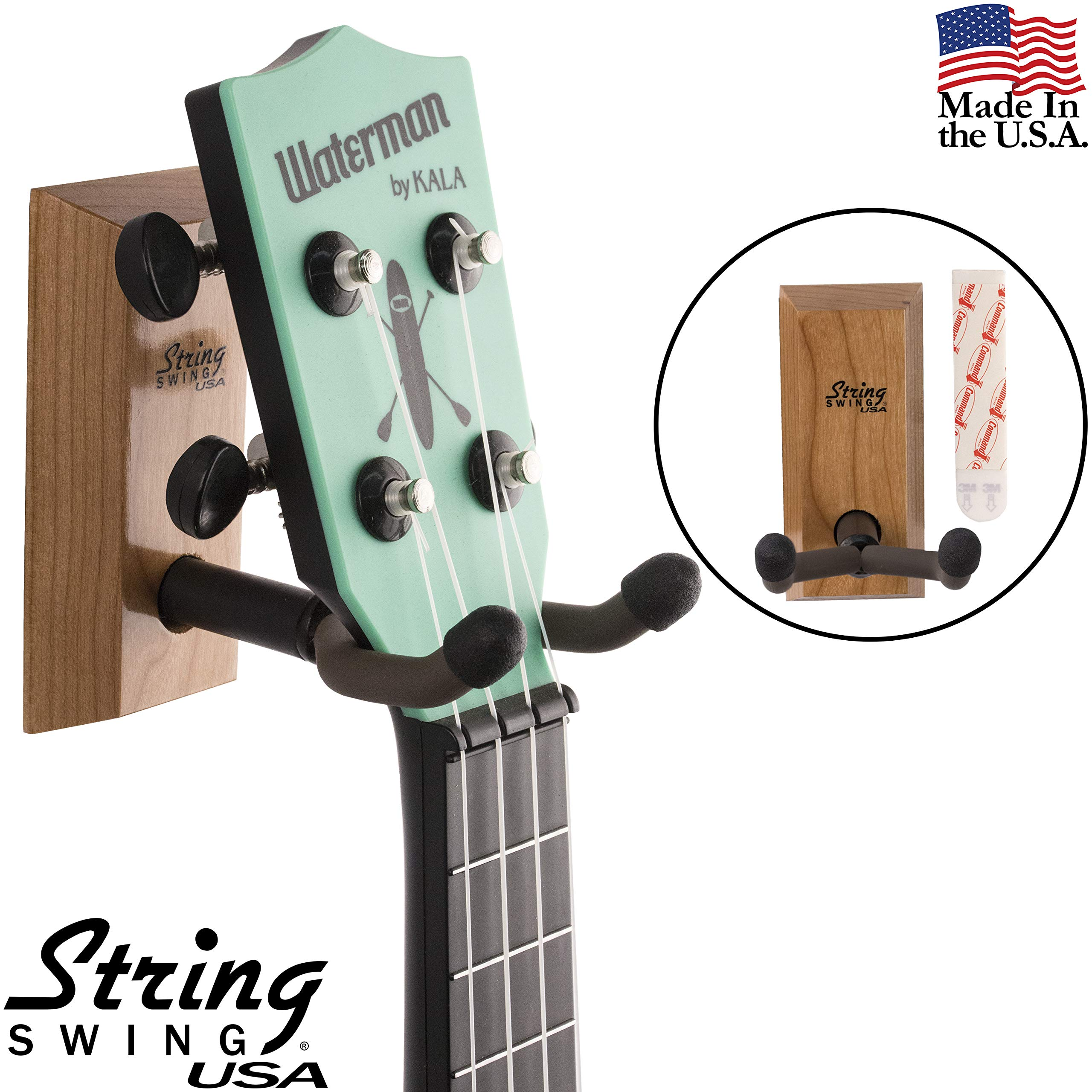 String Swing Ukulele Wall Mount Adhesive Stand for Mandolin Ukele - Concert Pineapple Soprano Tenor and Baritone Compatible - Case Alternative Kit for Home or Studio - Cherry Hardwood CC62UK-C