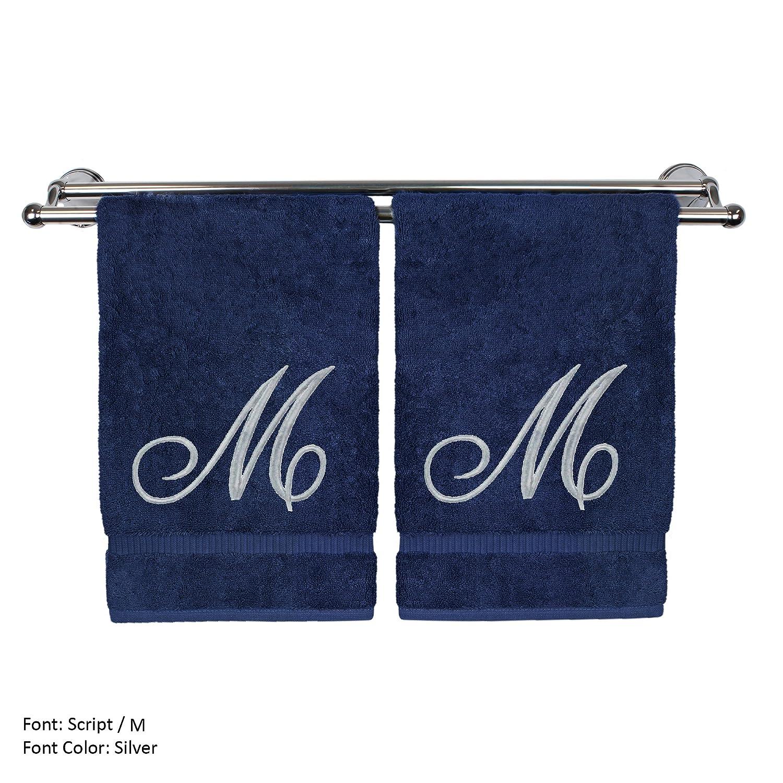 Monogram 専用ハンドタオル ゲストタオル ウェディング婚約記念ギフト 2 Hand Towel-Silver Script Initial M ブルー 85-713-864-129 B07681YHG7 2 Hand Towel-Silver Script Initial M|ネイビー ネイビー 2 Hand Towel-Silver Script Initial M
