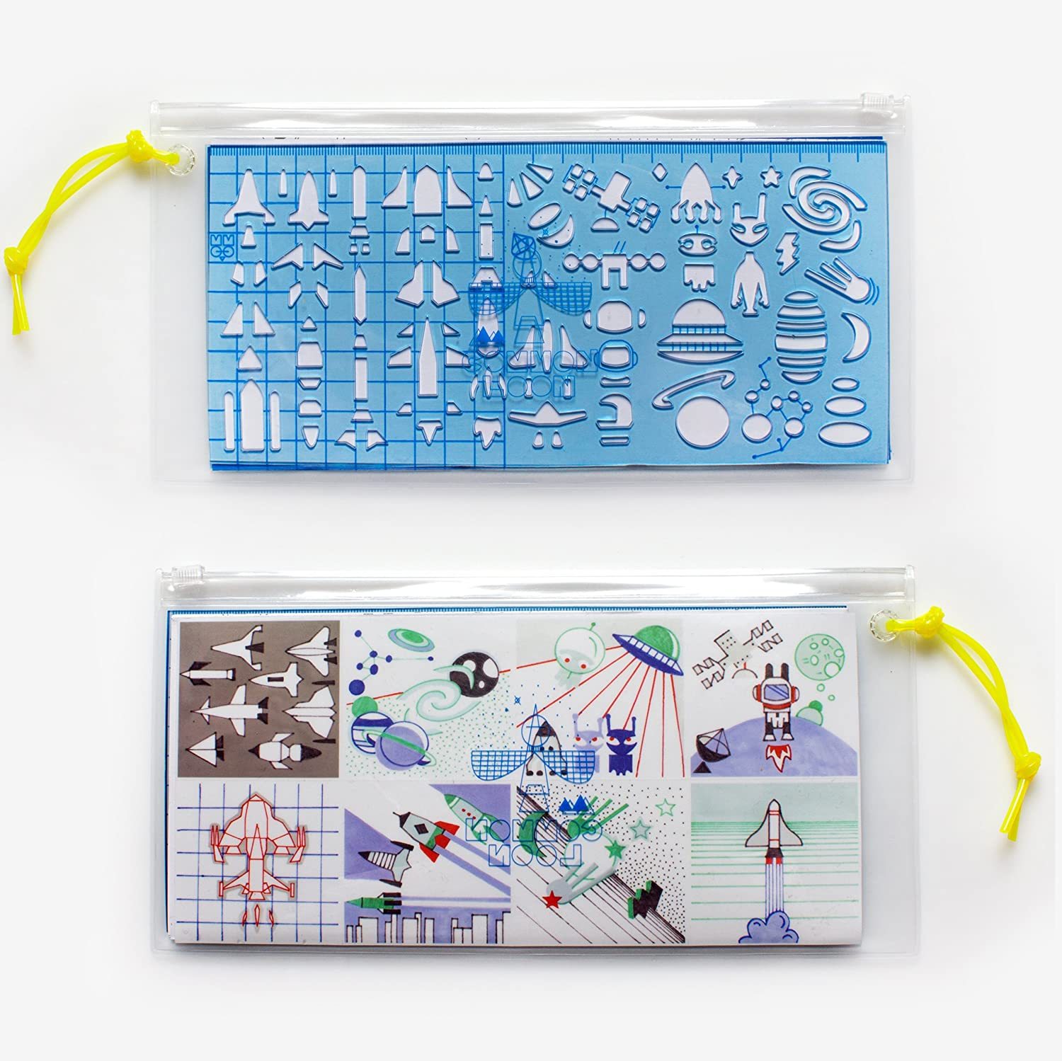 Drawing Stencil Ruler Set Common Loon 5 Themes Bendable PVC Psychedelic Art
