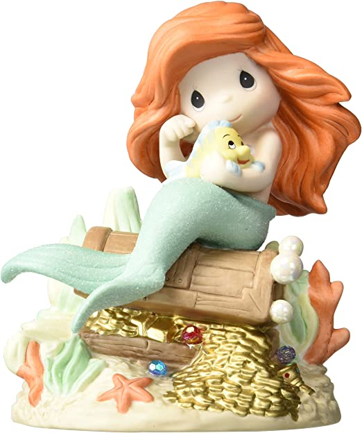 $ New PRECIOUS MOMENTS DISNEY Figurine ARIEL FLOUNDER Porcelain LITTLE MERMAID