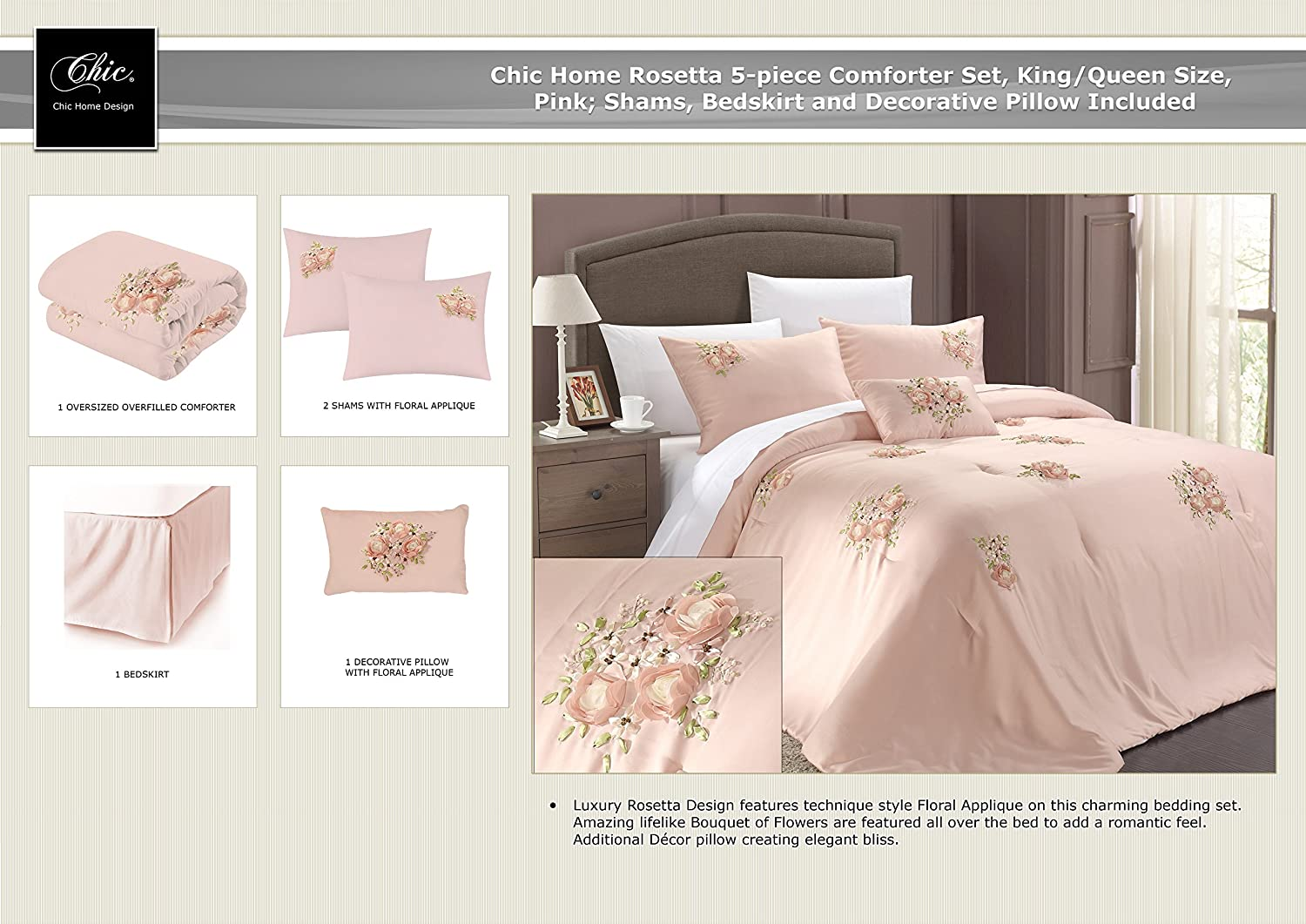 Amazon.com: Chic Home Rosetta 5-Piece Comforter Set, Queen, Pink ...